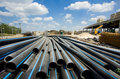 PVC pipes ar building site Royalty Free Stock Photo