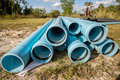 Pvc pipes at construction site lengths of blue florida Royalty Free Stock Image