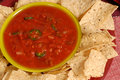 Pverhead view of a bowl of salsa with tortilla chips Royalty Free Stock Images