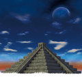 Pyiramid maya d rendering pyramid with moon Stock Photography
