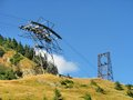 Pylon of cablecar in carpathians mountains near transfagarasan Stock Image