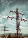 Pylons electric in a country scene Royalty Free Stock Photography