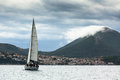 PYLOS, GREECE -  Sailboats participate in sailing regatta 12th Ellada Autumn 2014 among Greek island group Royalty Free Stock Photo