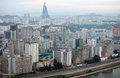 Pyongyang in morning fog this is a city without advertising but it is also a clean and quiet city Stock Photography