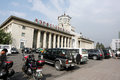 Pyongyang railway station s panoramic view some luxury suv parked in front of the train it was built in it is the only Stock Photo
