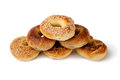 Pyramid bagel assorted on white background Royalty Free Stock Images