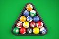 Pyramid balls pool billiard on green table. Top view. 3d illustr