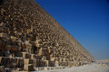 Pyramid and blue sky with high stone in egypt Royalty Free Stock Photos