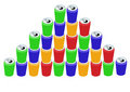 Pyramid of colorful cans Royalty Free Stock Photos