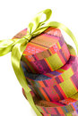 Pyramid of colorful gift boxes Stock Images
