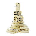 Pyramid of dominoes isolated on a white background Royalty Free Stock Photography