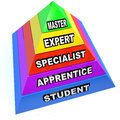 Pyramid of expert mastery skills rise from student to master a illustrating the steps learning a skilled trade rising apprentice Stock Photography