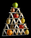 Pyramid food balanced diet eating fruits and vegetables Royalty Free Stock Photography