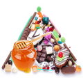 Pyramid in the form of sweets. Royalty Free Stock Photography