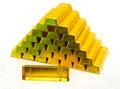 Pyramid from gold bullions Royalty Free Stock Photo