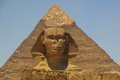 Pyramid of Khafre (Chepren) and the Sphinx in Giza - Cairo - Egypt Royalty Free Stock Photo