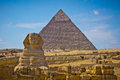 Pyramid of khafre and great sphinx in giza egypt view Royalty Free Stock Images