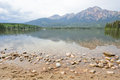 Pyramid lake mountain alberta and in jasper national park canada Royalty Free Stock Images