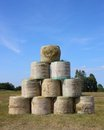 Pyramid of  a large bail of hay Royalty Free Stock Photography