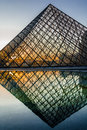 Pyramid of Le Louvre paris city France Stock Photography