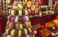Pyramid of macarons colorful tasty french Stock Images