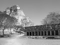 Pyramid of the magicians uxmal mayan ruins in yucatan mexico Royalty Free Stock Photos