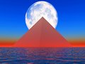 Pyramid science fiction illustration generated by computer Stock Image