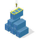 Pyramid of sea containers the top container lowered the crane isometric illustration with shadows Stock Photos
