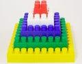 Pyramid from toy bricks  Royalty Free Stock Photo