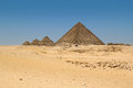 The pyramids in giza egypt with blue sky background Royalty Free Stock Photos