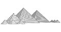 Pyramids from the giza plateau vector egypt cairo general view of three known as queens in background pyramid Stock Images
