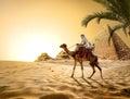Pyramids in hot desert Royalty Free Stock Photo