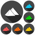 Pyramids icons set with long shadow