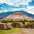 Pyramids of mexico the sun and moon on the avenue the dead teotihuacan ancient historic cultural city old ruins aztec civilization Royalty Free Stock Photos