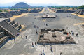 Pyramids at teotihuacan mexico along avenue of the dead Stock Photography