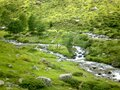 Pyrenean watercourse, stones and light Royalty Free Stock Photo