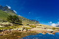 Pyrenees landscape mountains and lake Stock Photo