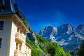 Pyrenees mountains and house top Stock Photos