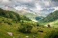 Pyrenees mountains landscape in huesca spain Royalty Free Stock Photo