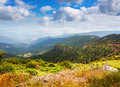 Pyrenees mountains landscape in summer view of alt urgell catalonia Stock Photos