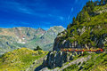 Pyrenees mountains with tourists train Stock Photography