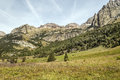 Pyrennes mountains benasque with trees situated in the spanish province of huesca it s a sunny day in Stock Photos
