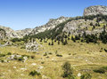 Pyrennes mountains benasque with trees situated in the spanish province of huesca it s a sunny day in Royalty Free Stock Photography
