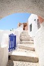 Pyrgos santorini city view in island greece Royalty Free Stock Photo
