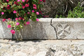 Pyrgos santorini a cross carved in the pavement of city island greece Royalty Free Stock Photography