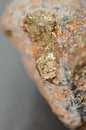 Pyrite sample of crystals iron disulfide Stock Image