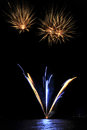 Pyrotechnic Fireworks at Lausanne, Switzerland Royalty Free Stock Photo
