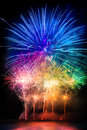 Pyrotechnics explosion many color in black sky Royalty Free Stock Images