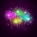 Pyrotechnics show bright multicolor celebration night background Stock Image