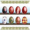 Pysanky - traditional eastern Europe decorated with wax Easter Eggs. Vector illustration over white background.